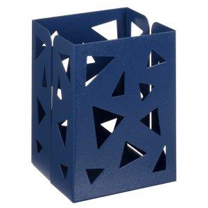 Стакан для пишущих принадлежностей квадратный узор металл синий Calligrata