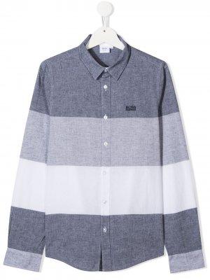 Рубашка в полоску Boss Kids. Цвет: синий