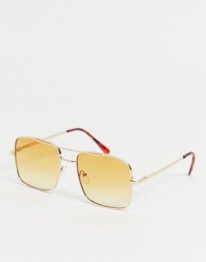 Женские солнцезащитные очки в квадратной серебристой оправе с коричневыми затемненными стеклами -Серебристый AJ Morgan