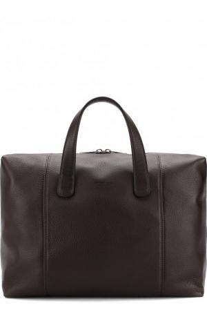 Кожаная дорожная сумка на молнии с плечевым ремнем Giorgio Armani. Цвет: коричневый