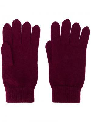 Перчатки в рубчик N.Peal. Цвет: красный