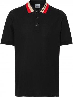 Рубашка поло с контрастным воротником Burberry. Цвет: черный