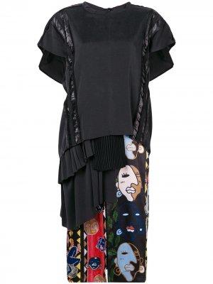 Платье-футболка средней длины Carven. Цвет: черный