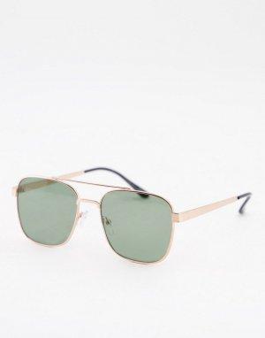 Солнцезащитные очки в золотистой оправе с зелеными линзами Navigator-Золотистый ASOS DESIGN