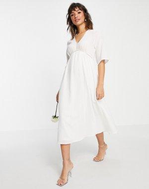 Белое свадебное платье миди с завышенной талией и V-образным вырезом -Белый Vila