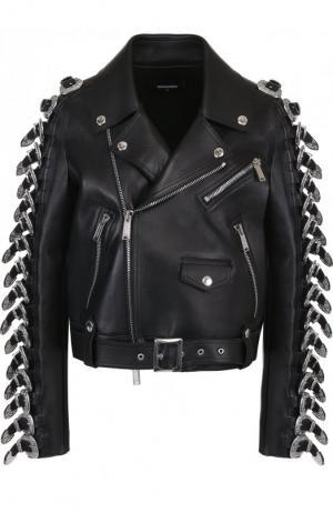 Укороченная кожаная куртка с косой молнией и декоративной отделкой Dsquared2. Цвет: черный