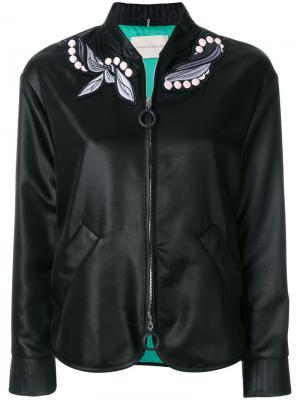 Куртка-бомбер с вышивкой Marco De Vincenzo. Цвет: черный