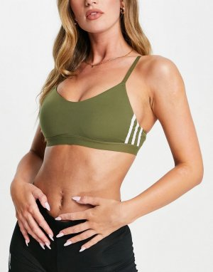 Спортивный бюстгальтер цвета хаки с легкой степенью поддержки и тремя полосками adidas Training All Me-Зеленый цвет performance