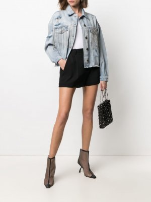 Джинсовая куртка с бахромой и кристаллами TWINSET. Цвет: синий