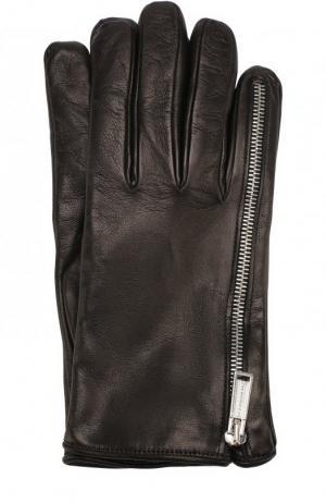 Кожаные перчатки с декоративной молнией Dsquared2. Цвет: черный