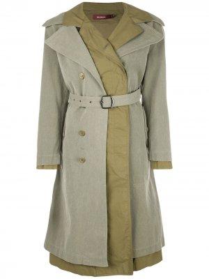 Двубортное пальто с поясом Sies Marjan. Цвет: зеленый