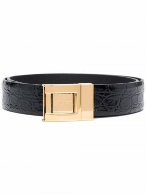 Crocodile-effect patent leather belt Saint Laurent. Цвет: черный