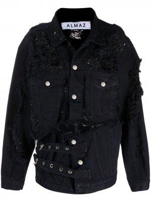 Джинсовая куртка с декором из бисера Almaz. Цвет: черный