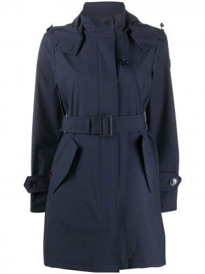 Пальто с капюшоном и поясом Woolrich. Цвет: синий