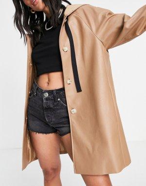 Серо-коричневый макинтош свободного кроя из искусственной кожи с капюшоном -Коричневый цвет Helene Berman