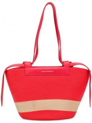 Маленькая сумка-тоут трапециевидной формы Elena Ghisellini. Цвет: красный