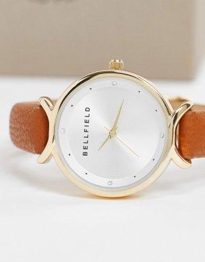 Часы с перекрещивающейся деталью и ремешком из искусственной кожи -Коричневый Bellfield