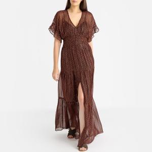 Платье длинное радужное WANDA BA&SH. Цвет: зеленый,черный