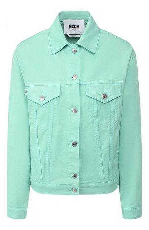 Джинсовая куртка MSGM. Цвет: зелёный