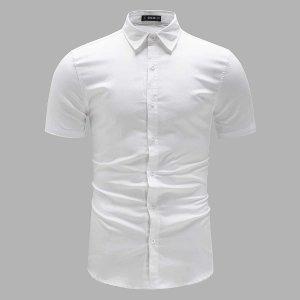 Мужская однотонная рубашка с коротким рукавом SHEIN. Цвет: белый