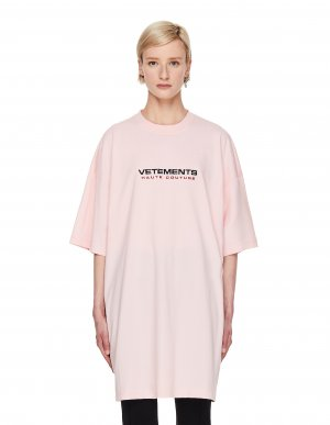 Розовая футболка с вышивкой Haute Couture Vetements