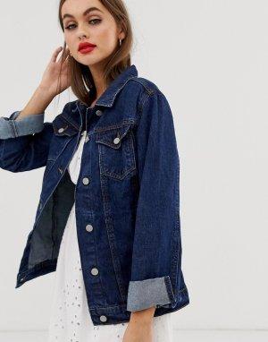 Темная удлиненная джинсовая куртка fielding-Синий Brave Soul