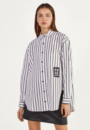 Рубашка Bershka. Цвет: белый