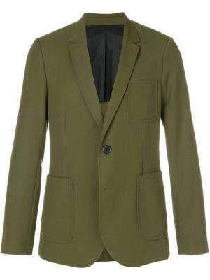 Пиджак на двух пуговицах с частичной подкладкой AMI Paris. Цвет: зеленый