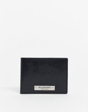 Кожаный бумажник двойного сложения -Черный Bolongaro Trevor