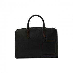 Кожаная сумка для ноутбука Ermenegildo Zegna. Цвет: чёрный