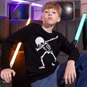 Пуловер для мальчиков с принтом скелетов SHEIN. Цвет: чёрный