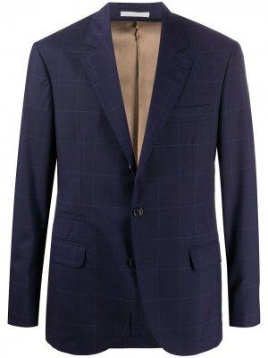 Однобортный пиджак в клетку Brunello Cucinelli. Цвет: синий