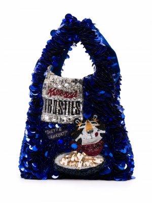 Мини-сумка Frosties с пайетками Anya Hindmarch. Цвет: синий