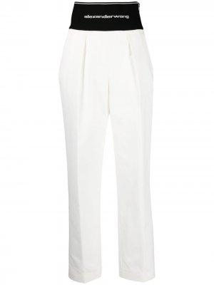 Прямые брюки с логотипом Alexander Wang. Цвет: белый