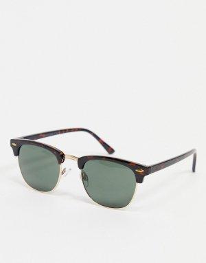Квадратные солнцезащитные очки в черепаховой оправе -Коричневый цвет Jack & Jones