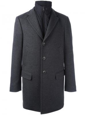 Пальто с внутренней дутой жилеткой Fay. Цвет: серый