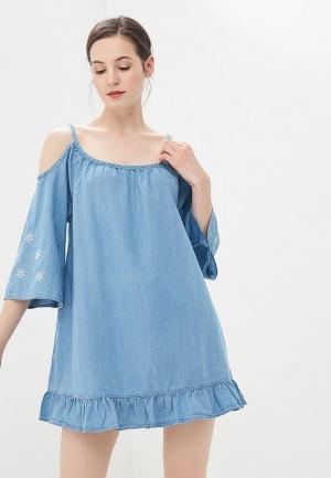 Платье джинсовое Code. Цвет: голубой