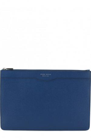 Кожаная папка для документов BOSS. Цвет: синий