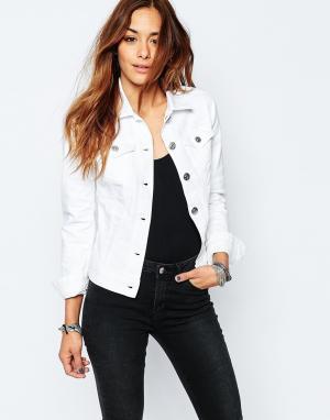 Приталенная джинсовая куртка Replay. Цвет: белый