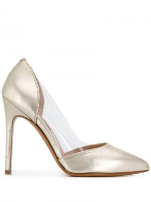 Туфли-лодочки с заостренным носком и эффектом металлик Albano. Цвет: золотистый