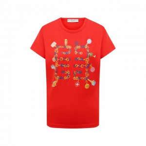 Хлопковая футболка Givenchy. Цвет: красный