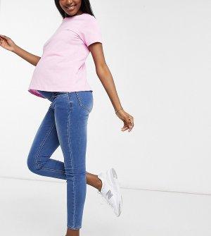 Голубые облегающие суперэластичные джинсы для беременных с посадкой над животиком -Голубой Cotton:On Maternity
