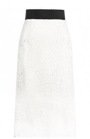 Кружевная юбка-миди с широким поясом Dolce & Gabbana. Цвет: белый