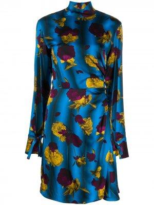 Платье с высоким воротником цветочным принтом Opening Ceremony. Цвет: синий