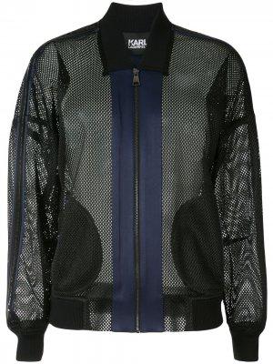 Сетчатая куртка-бомбер Karl Lagerfeld. Цвет: черный
