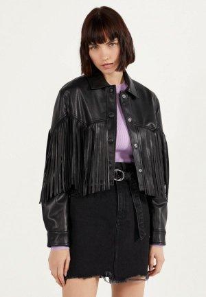 Куртка кожаная Bershka. Цвет: черный