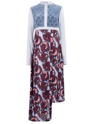 Шелковое платье GRINKO. Цвет: разноцветный