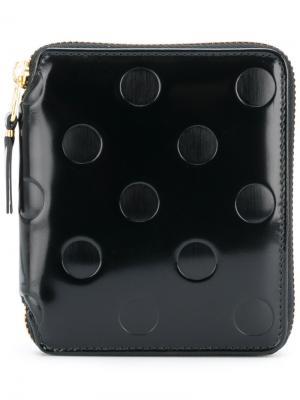Бумажник в горох на молнии Comme Des Garçons Wallet. Цвет: черный