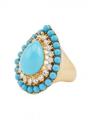 Золотой перстень Kenneth Jay Lane. Цвет: синий