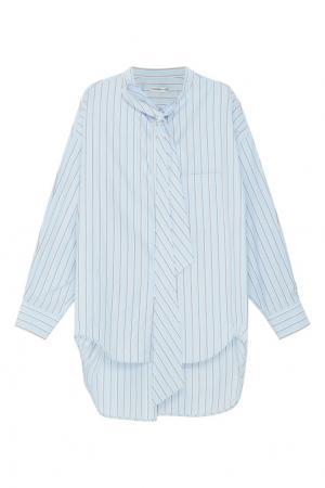 Голубая блузка в полоску Balenciaga. Цвет: голубой